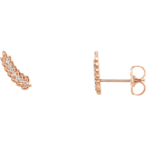 14K Gold and Diamond Leaf Climber Earrings