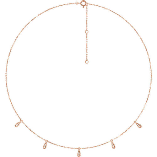 14K Gold and Diamond Drop Station Necklace
