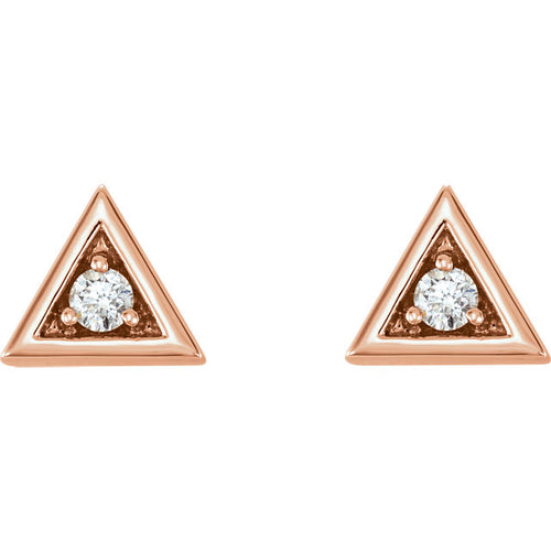 14K Gold and Diamond Triangle Earrings