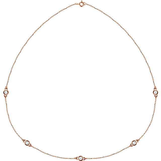 14K Gold and Diamond Station Necklace