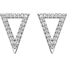 Load image into Gallery viewer, 14K Gold and Diamond Pavé Triangle Earrings