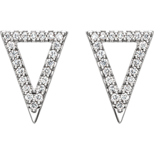 14K Gold and Diamond Pavé Triangle Earrings