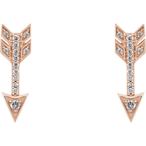 14K Gold and Diamond Arrow Earrings