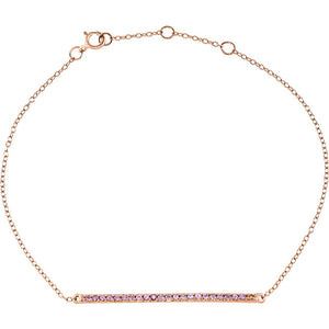 14K Gold and Pink Sapphire Bar Bracelet