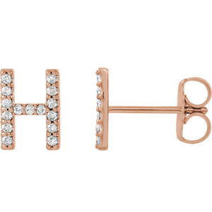 14K Gold and Diamond Single Initial Stud Earring