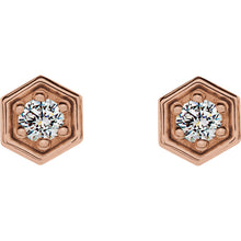Load image into Gallery viewer, 14K Gold and Diamond Hexagon Earrings