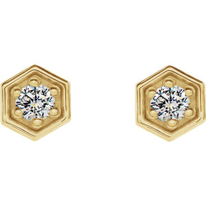 14K Gold and Diamond Hexagon Earrings