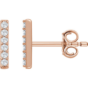 14K Gold and Diamond Vertical Bar Earrings
