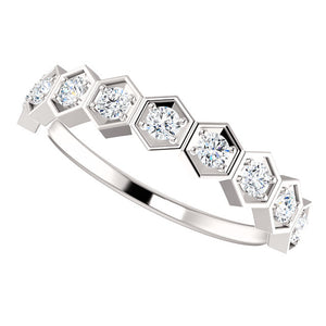 Geometric Diamond Stackable Ring
