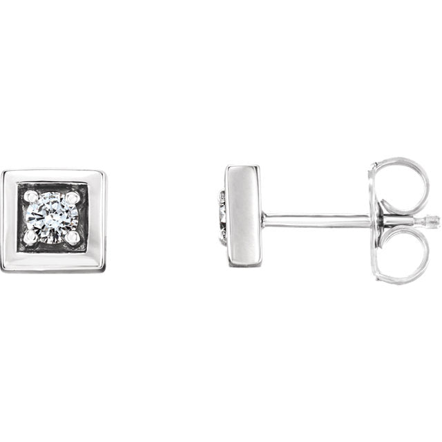14K Gold and Diamond Square Earrings