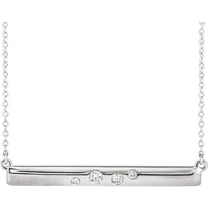14K Gold and Diamond Bar Necklace