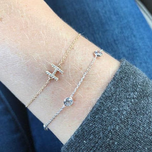 14K Gold and Diamond Initial Bracelet