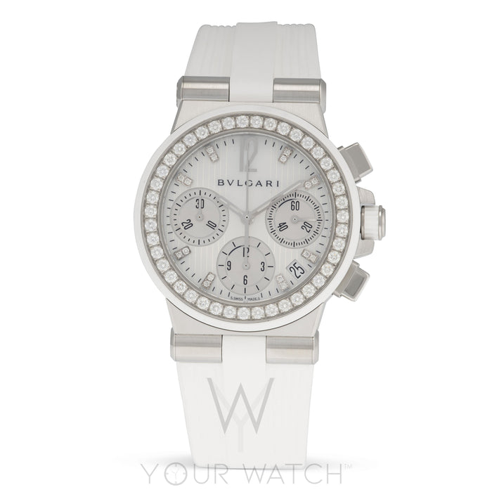 Bvlgari Diagono White Mother of Pearl Diamond Dial Chronograph Ladies Watch