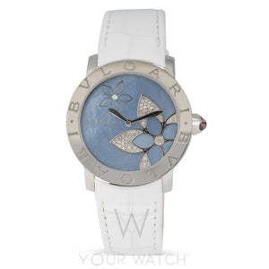 Bvlgari Blue Mother Of Pearl Flower Design Ladies Watch 101897