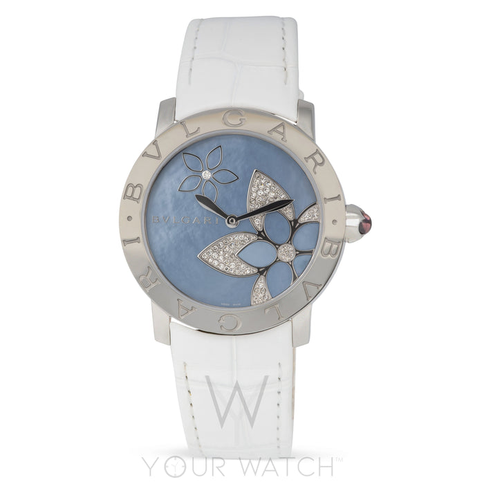 Bvlgari Blue Mother Of Pearl Flower Design Ladies Watch