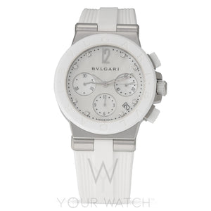 Bvlgari Diagono White Mother of Pearl Chronograph Ladies Watch 101993