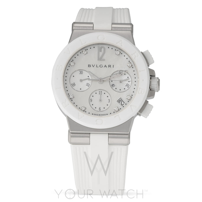 Bvlgari Diagono White Mother of Pearl Chronograph Ladies Watch
