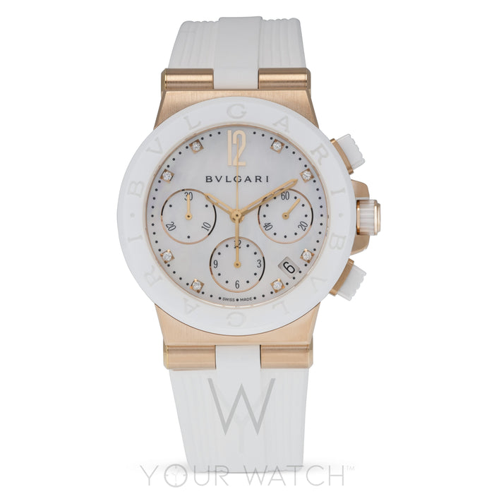 Diagono White Mother of Pearl 18 Carat Pink Gold Chronograph Ladies Watch