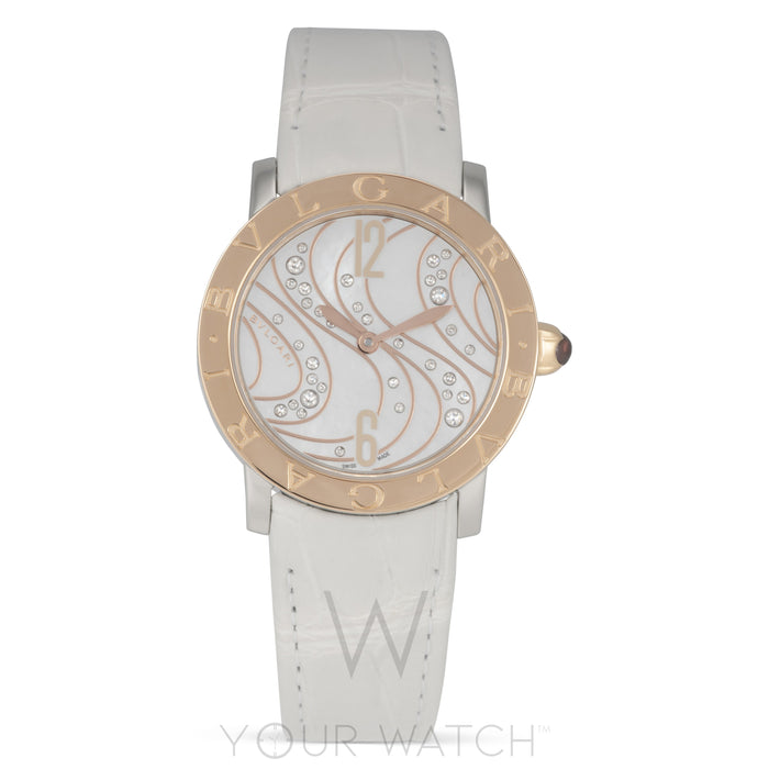White Mother of Pearl with Diamonds Dial Automatic Ladies Watch