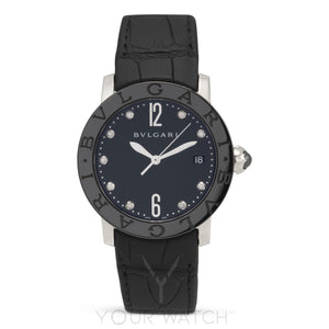 Bvlgari Automatic Black Lacquered Diamond Dial Ladies Watch 102054