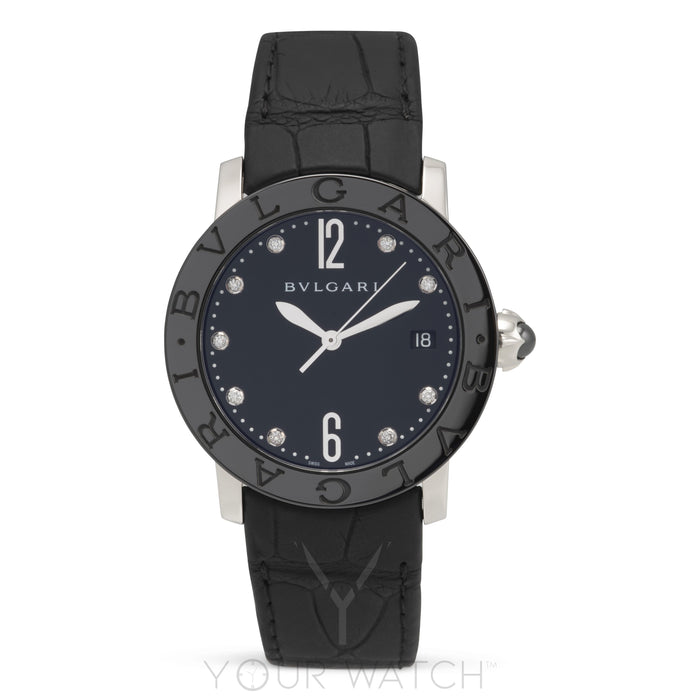 Bvlgari Automatic Black Lacquered Diamond Dial Ladies Watch