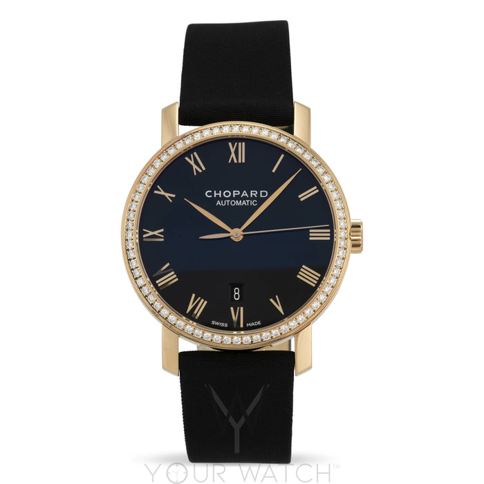 Chopard Classic 18k Rose Gold Diamond Bezel Mens Watch