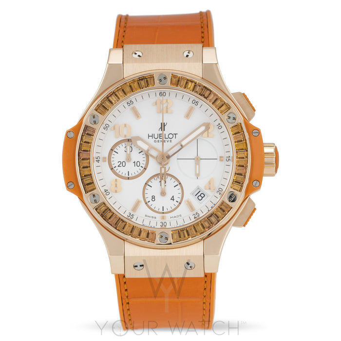 Hublot Big Bang Automatic Chronograph 18k Rose Gold Tutti Frutti Orange Ladies Watch