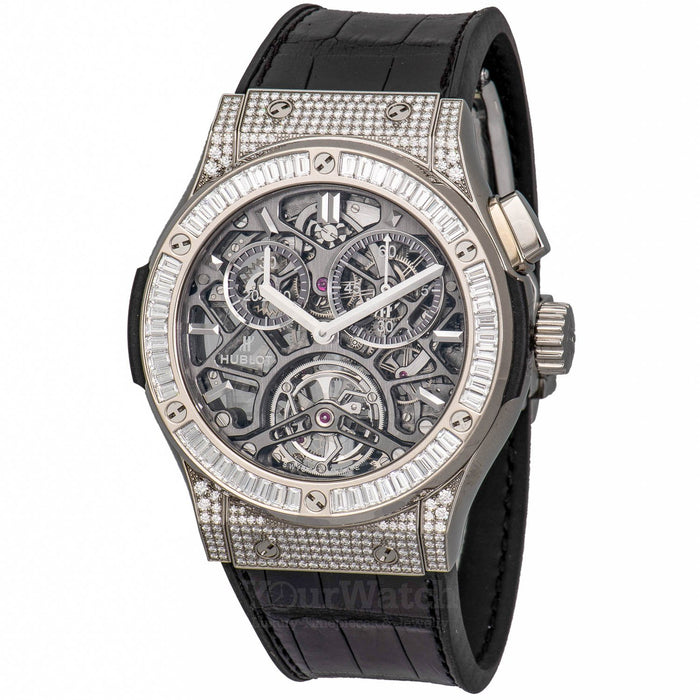 Classic Fusion Tourbillon Chronograph 45mm Titanium With Diamond Bezel Mens Watch