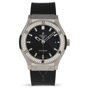 Hublot-Hublot Classic Fusion Zirconium Diamond Bezel Black Dial Black Rubber Mens 45mm Watch-511.ZX.1170.RX.1104-$9486.00