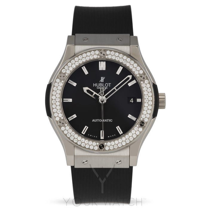 Hublot Classic Fusion Zirconium Diamond Bezel Black Dial Black Rubber Mens 45mm Watch