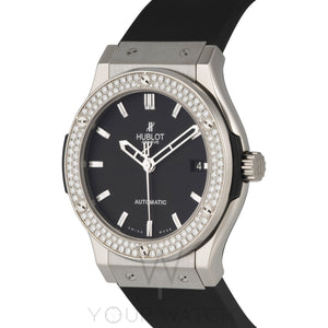 Hublot Classic Fusion Zirconium Diamond Bezel Black Dial Black Rubber Mens 45mm Watch 511.ZX.1170.RX.1104