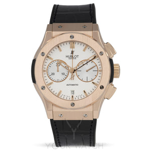 Hublot Classic Fusion Silver Dial Chronograph 18kt Rose Gold Black Leather Mens Watch 521.OX.2610.LR