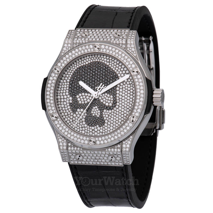 Hublot Classic Fusion Skull Full Pave Diamond Bezel Mens Watch