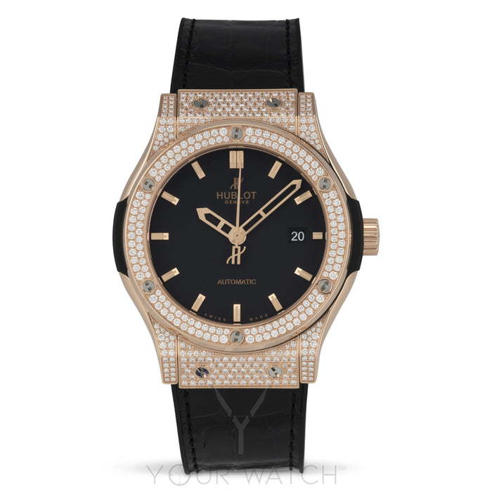 Hublot Classic Fusion Automatic 18k Rose Gold Diamond Case 42mm Mens Watch