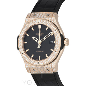 Hublot Classic Fusion Automatic 18k Rose Gold Diamond Case 42mm Mens Watch 542.OX.1180.LR.1704