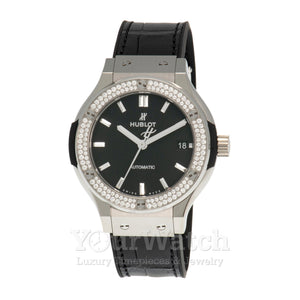 Hublot Classic Fusion Mat Black Dial Automatic Men's Diamond Watch 565.NX.1171.LR.1104