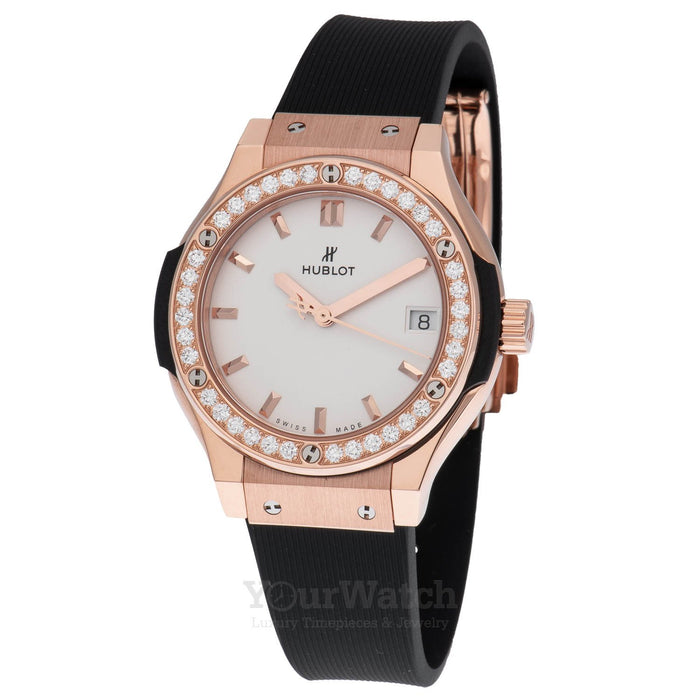 Hublot Classic Fusion Quartz 33mm Ladies Watch With Diamond Bezel