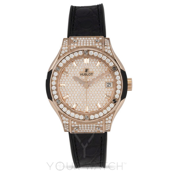 Hublot-Hublot Classic Fusion Quartz 18kt Rose Gold Diamond Ladies Watch-581.OX.9010.LR.1704-$22914.00