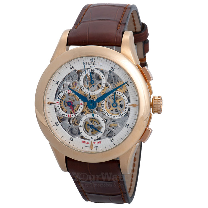 Perrelet-Dual Time Chronograph Skeleton Dial Brown Leather Men's Watch-A3007-7-$13120.00