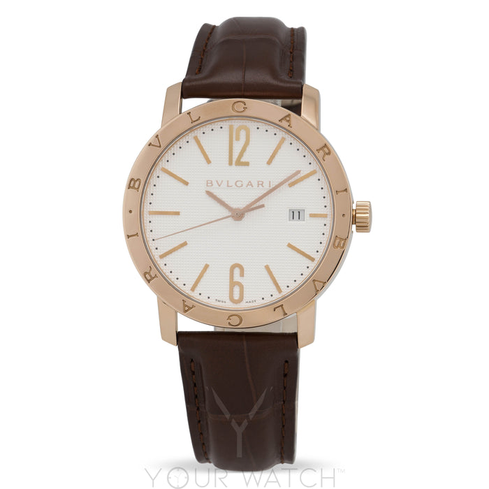 Bvlgari White Dial 18 Carat Pink Gold Men's Watch