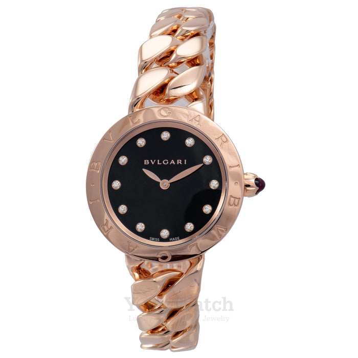 Catene Pink Gold Black Lacquer Dial Ladies Watch