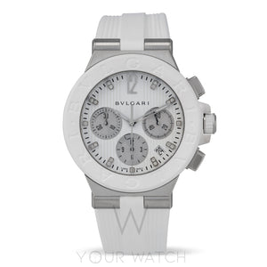 Bvlgari Diagono Chronograph White Rubber Ladies Watch 101801