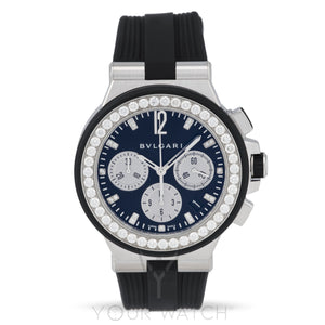 Bvlgari-Diagono Black Diamond Dial Chronograph Ladies Watch-101756-$11160.00