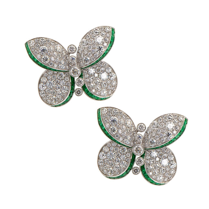 Graff Princess Butterfly Diamond and Emerald Stud Earrings
