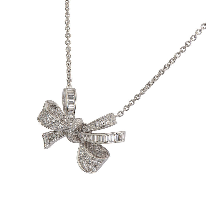 Diamond Bow Pendant on Chain