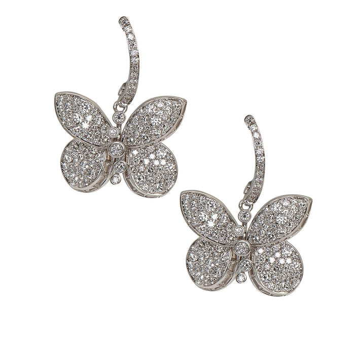 Baby Princess Butterfly Earrings With White Round Pave Diamonds