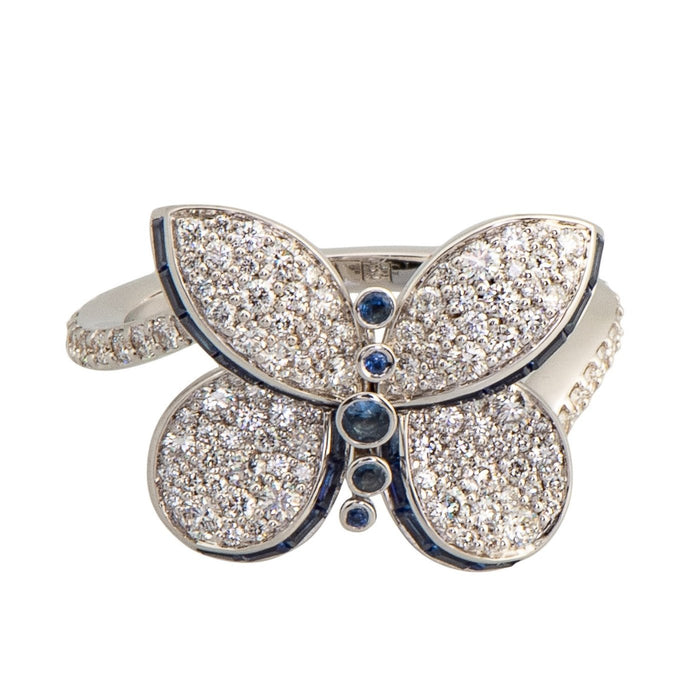 Baby Princess Butterfly Ring With Diamonds and Light Blue Sapphires
