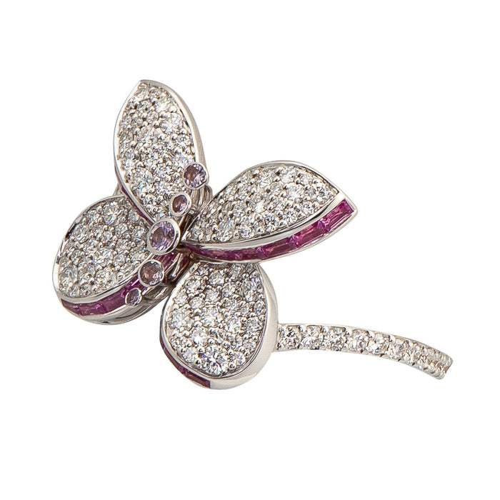 Baby Princess Butterfly Ring with Pave Diamond and Pink and Purple Sapphires