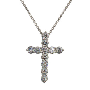 Large Round Diamond Cross Pendant On a Chain RGP005