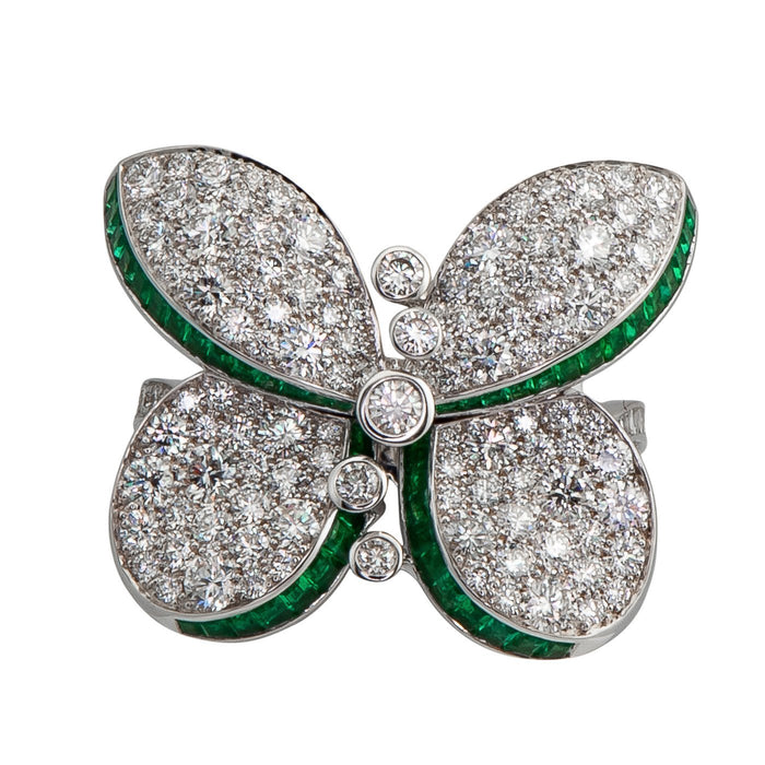 Graff Princess Butterfly Ring with Emeralds And Diamonds